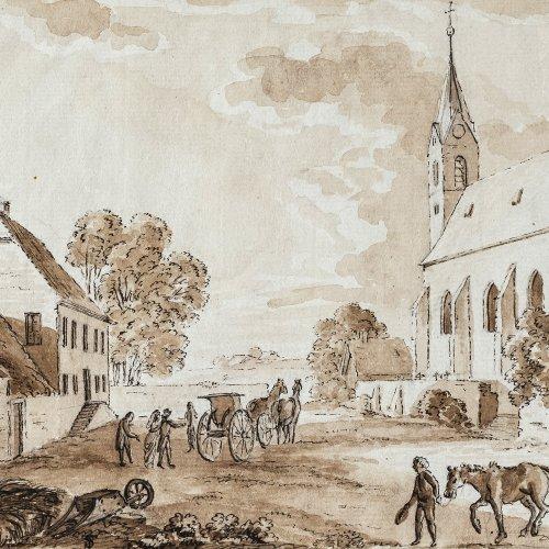 Stange, Bernhard, zugeschrieben. Kirche (Sindelsdorf?) mit Bauernhaus. Lavierte Federzeichnung. 14,8 x 19,5 cm. Unsign. Monogr. TS.