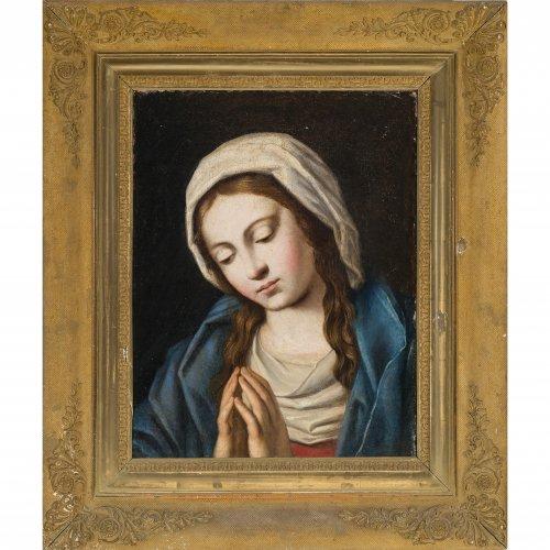 Sassoferrato (Giovanni Battista Salvi), zugeschrieben, Madonna. Öl/Lw. 49 x 37,5 cm.