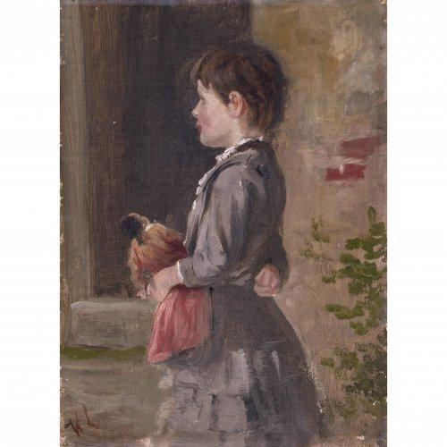 Leibl, Wilhelm, zugeschrieben. Mädchen mit Puppe. Studie. Öl/Malpapier/Karton. 22 x 16,5 cm.