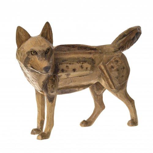 Weickmann, Franz. Stehender Timberwolf. Holz. H. 39 cm.