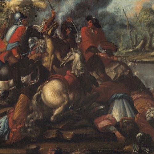Douw, Simon J. van, zugeschrieben. Schlachtenszene. Öl/Lw./Hartfaser. 61,5 x 92,5 cm.