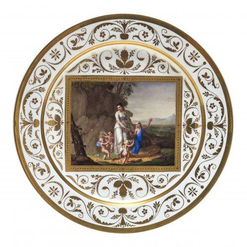Teller mit mythologischer Szene, Nymphenburg, um 1810.