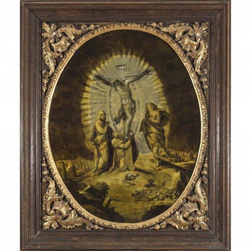 Goldeglomisébild, Gerhardt Janssen, Wien, monogr., dat. 1718. Kreuzigungsszene mit Schmerzensmutter, Maria Magdalena und Johannes. Min. Farbabrieb, Rahmen best. 71 x 56 cm.