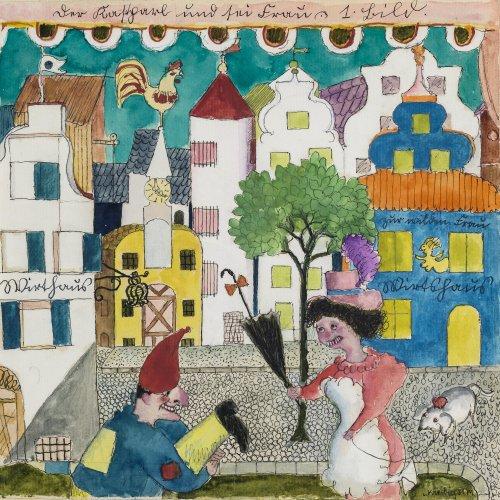 Kreibig, Erwin von. Entwurf für ein Bühnenbild. Aquarell über Federzeichnung. 20 x 20 cm. Sign., dat. 31.