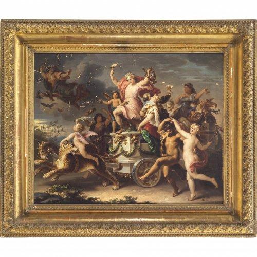 Geiger, Karl, zugeschrieben. Triumphzug des Bacchus und der Ariadne. Öl/Karton. 41 x 52 cm. Besch. Sign., dat. 1876.