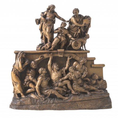 Schwanthaler, Johann Peter d.Ä., zugeschrieben. Christus ernennt den hl. Rochus als Schutzpatron der Pestopfer. Relief. Buchsbaum oder Lindenholz. Min. best. 27 x 27 x 8 cm.