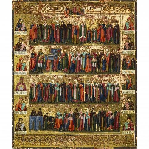 Ikone. Typus der Kalenderikone für den Monat Mai. Russland, 1. Hälfte 19. Jh. Tempera/Holz. 44 x 37 cm.