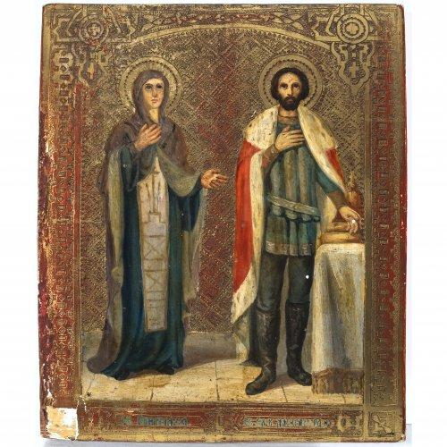 Ikone. Zwei Heilige. Russland, 19. Jh. 26 x 21,5 cm.