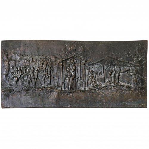 Faller, Max, Anbetungsszene des Jesuskindes. Bronzerelief. 13,5 x 35 cm.