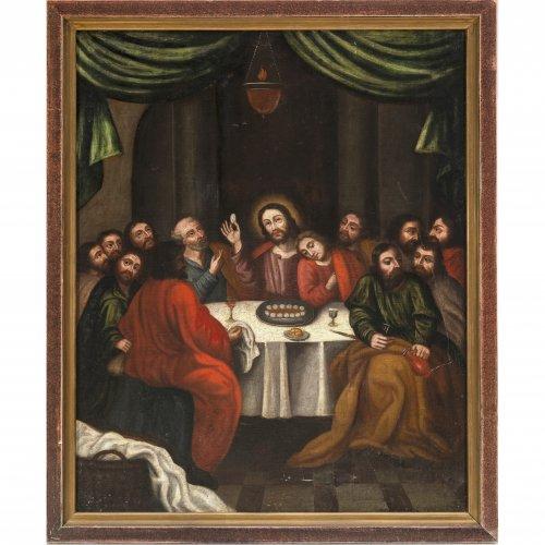 18. Jh. Das letzte Abendmahl. Öl/Lw./Hartfaser. 96 x 77 cm. Rest. Unsign.