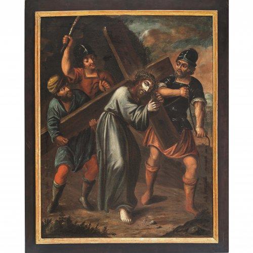 17./18. Jh. Kreuzwegstation: Christus trägt das Kreuz. Öl/Lw. 97 x 76 cm. Rest., doubl. Unsign.