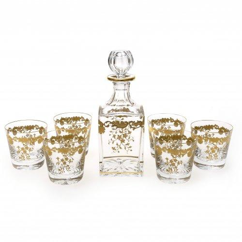 Whisky - Trinkgarnitur. Glas geschliffen, Ränder mit Goldbordüren. Saint-Louis, Frankreich, 2. Hälfte 20. Jh