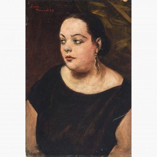 Bernard, Émile, zugeschrieben. Porträt eines Mädchens. Öl/Karton. 72,5 x 49,5 cm. Karton an den Rändern besch. Sign., dat. 28. Rücks. altes Klebeetikett.