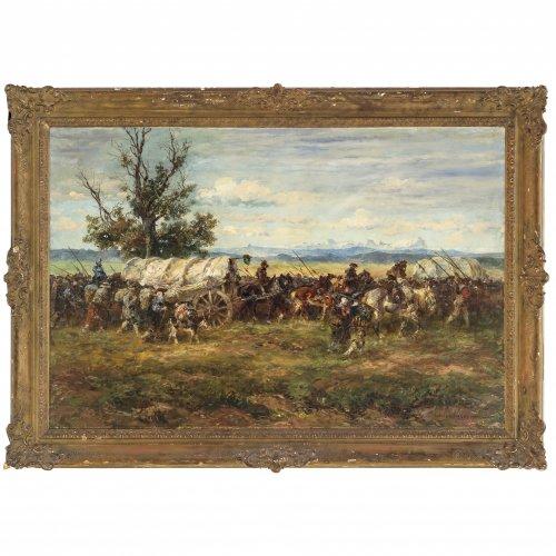 Hoffmann, Anton. Heereszug im Dreissigjährigen Krieg. Öl/Lw. 99 x 149 cm. Rest., sign.