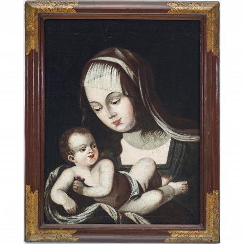 Italien, 18. Jh. Muttergottes mit Kind. Öl/Lw./Holz. 52,5 x 39,5 cm. Rest., unsign.