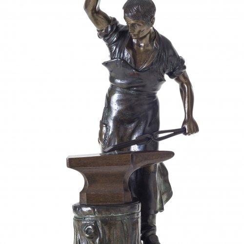 Saalmann, Erich. Schmied am Amboss. Bronze. H. 32 cm. Sign.