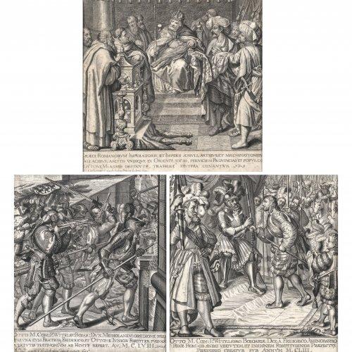 Amling, Karl Gustav. Drei Kupferstiche. Die Taten Ottos von Wittelsbach. Nach Entwürfen für Wandteppiche von Peter de Witte. Fleckig. Je ca. 26 x 23 cm.
