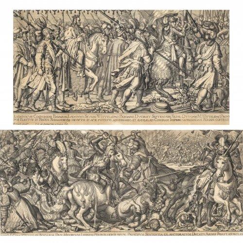 Amling, Karl Gustav. Zwei Kupferstiche. ie Taten Ottos von Wittelsbach. Nach Entwürfen für Wandteppiche von Peter de Witte. Fleckig. Ca. 25 x 50 cm.