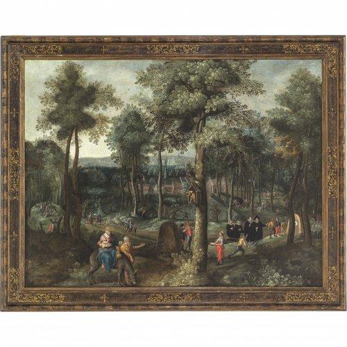 Coninxloo, Gillis van, Nachfolge. Waldlandschaft mit Flucht nach Ägypten. Öl/Lw. 97 x 127 cm. Rest, doubl. Unsign.