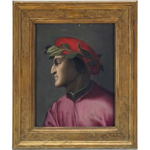 Italien, wohl 16. Jh. Dante Alighieri im Profil. Öl/Holz. 41,5 x 31,5 cm. Leicht besch., rest. Unsign.