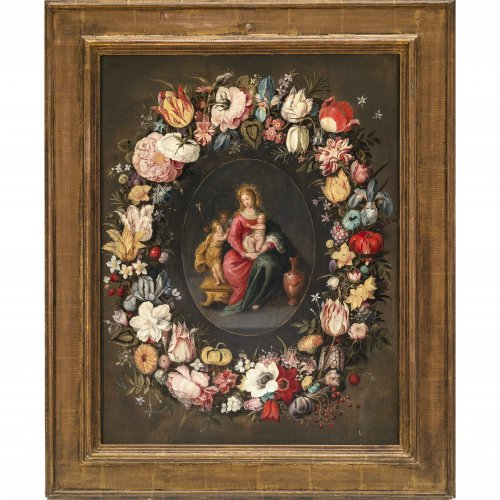 Antwerpener Schule, Brueghel-Werkstatt, 17. Jh. Madonna mit Kind und Johannesknaben im Blumenkranz. Öl/Holz. 63,5 x 48,5 cm. Min. best., rest. Unsign.