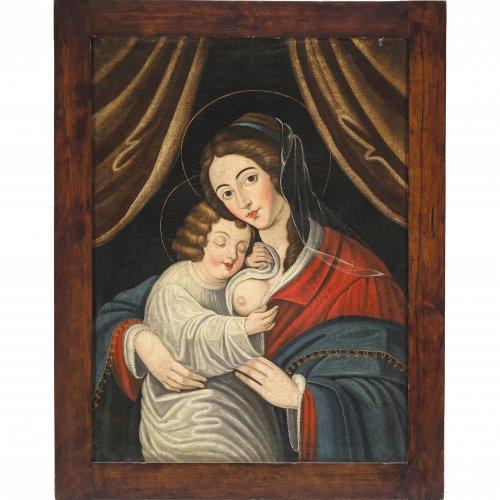Italien,  17. Jh./19. Jh. Madonna mit Kind. Öl/Lw. 81,5 x 60,5 cm. Rest., doubl. Unsign.