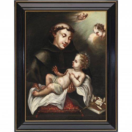 Südtirol, 18. Jh., Blasius Mitterwurzer(?). Hl. Antonius mit dem Jesuskind. 75 x 54,5 cm. Rest., doubl. Unsign.
