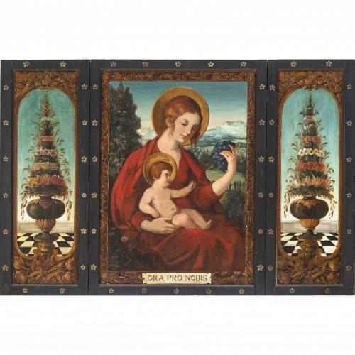 Flügelaltar. Tirol, 19. Jh. Maria mit Kind. Öl/Holz. 73 x 52,5 cm. Außenmaß, aufgeklappt 80,5 x 120 cm. Leicht besch.