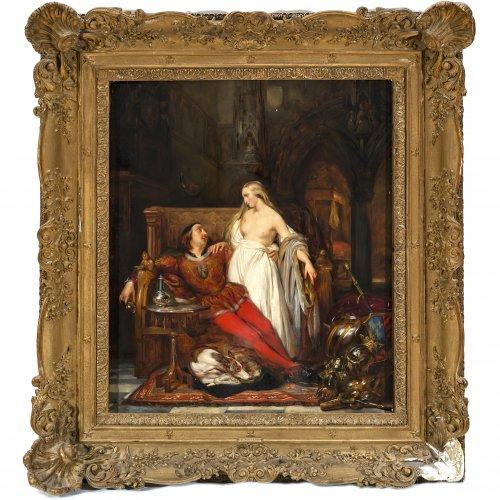 Wappers, Gustave. Thronender Ritter mit Liebschaft.  Öl/Holz. 77 x 66 cm. Sign., dat. 1835.