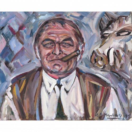 Berchtold, E. Porträt des Richard Süßmeier. Öl/Lw. 50 x 60 cm. Sign., dat. 95.