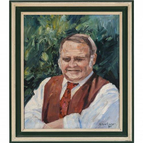 Selbertinger, Johannes. Porträt des Richard Süßmeier. Öl/Lw. 60 x 50 cm. Sign., dat. 90.