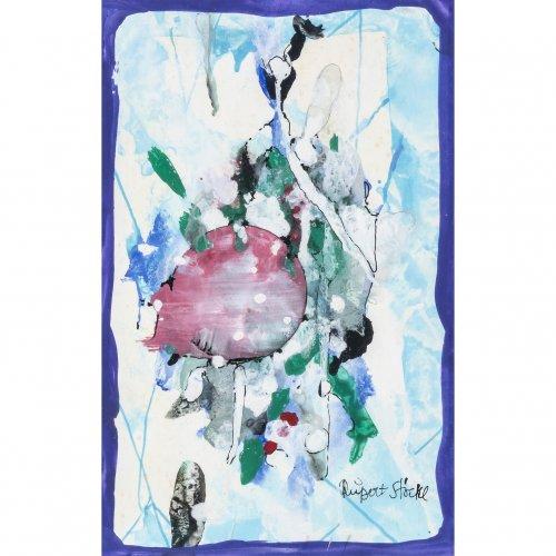 Stöckl, Rupert. Abstrakte Komposition. Gouache. 15 x 9,5 cm. Sign. Rückseitig mit Widmung an Richard Süßmeier, Wörnbrunn, 16.8.96.