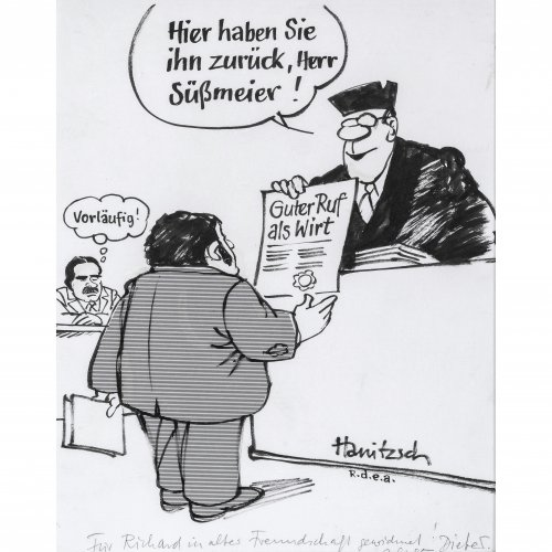 Hanitzsch, Dieter. Karikatur über Richard Süßmeier. Tuschpinselzeichnung. 29 x 23,5 cm. Sign. Mit Widmung an Richard Süßmeier von 1985.