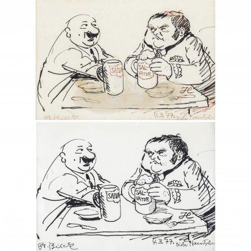 Hanitzsch, Dieter. Karikatur. Tuschpinselzeichnung (Entwurf) und Druckabzug. 22 x 27 cm. Sign., dat. 77.