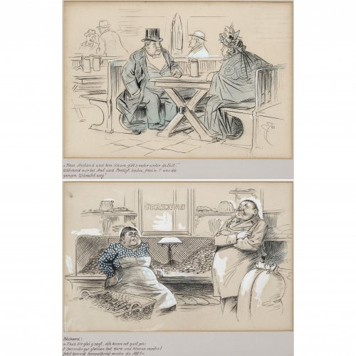 Engl, Josef Benedikt. Zwei Karikaturen: In der Bäckerei bzw. in der Gaststube. Farbig gehöhte Kohlezeichnungen. Je 31 x 45 cm. Monogr., eines dat. 98.
