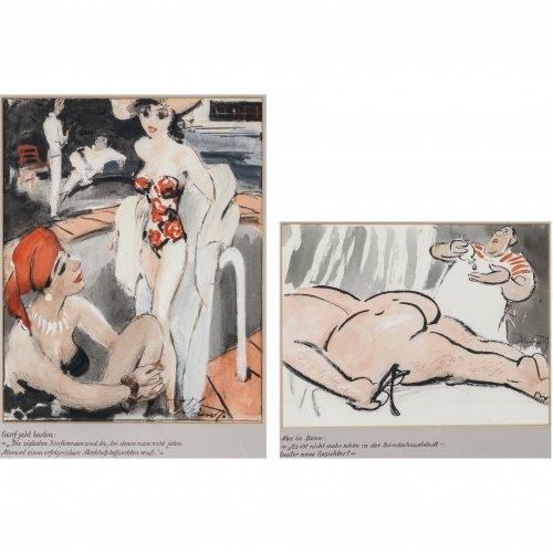 Krisch, Rudolf. Zwei Karikaturen: Genf geht baden und Neu in Bonn (beim Masseur). Mischtechnik. 35 x 32,5 cm und 25 x 34 cm. Sign.