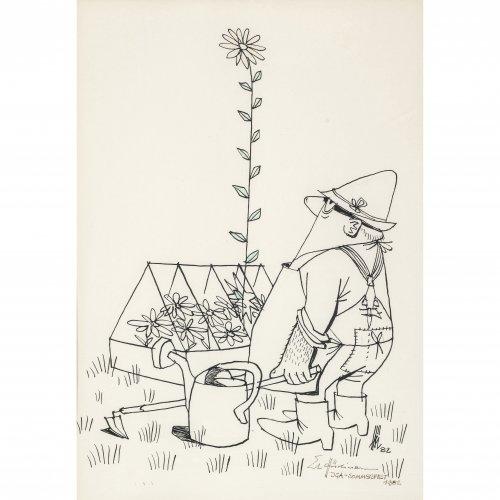 Hürliman, Ernst. Karikatur auf die IGA 1982. Tuschfederzeichnung. 28 x 20 cm. Monogr., dat. 82.