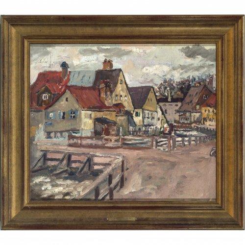 Guillery, Franz. Häuser in der Au in München. Öl/Lw. 36 x 43 cm. Rest., doubl. Unsign., rückseitig Nachlassstempel.