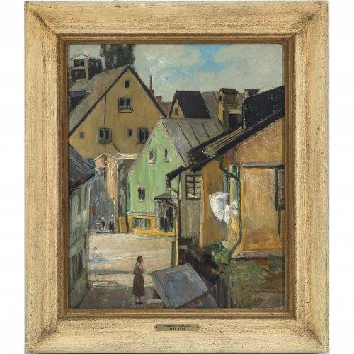 Wirnhier, Friedrich. Hinterhofidylle in einer süddeutschen Ortschaft. Öl/Karton. 38 x 31 cm. Unsign., rückseitig Nachlassstempel.