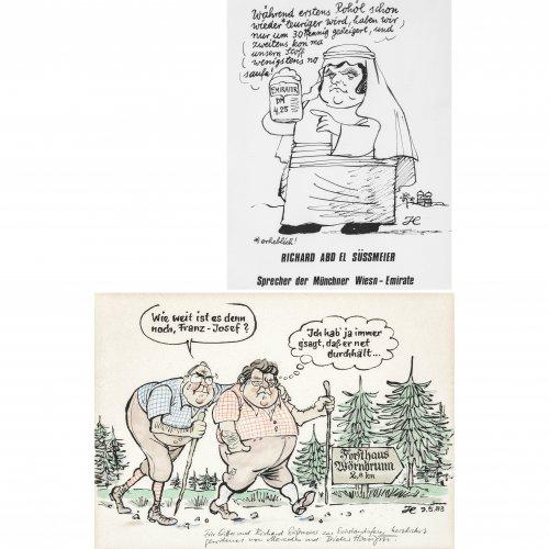 Hanitzsch, Dieter. Zwei Karikaturen: 1) Helmut Kohl und Franz Josef Strauß. Aquarellierte Federzeichnung. 27,5 x 38 cm. Monogr., dat. 83, mit Widmung an Richard Süßmeier zur Einstandsfeier. 2)