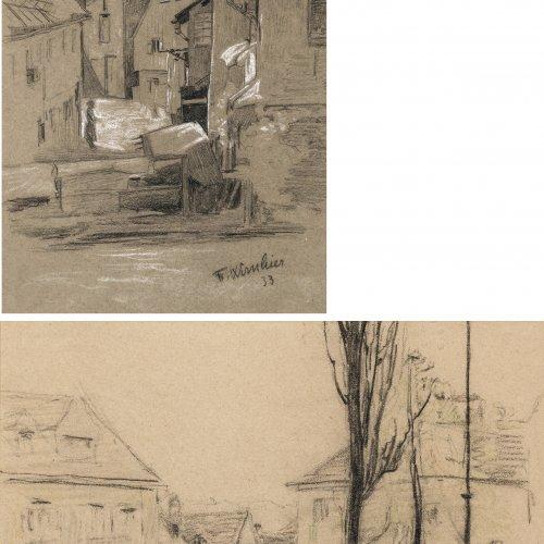 Wirnhier, Friedrich. Zwei Bleistiftzeichnungen: Wochenmarkt bwz. Altstadt. 19 x 24 cm und 34 x 22 cm. Sign., dat. 32, 33. Rückseitig Nachlassstempel.