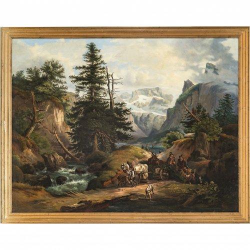 Mühlig, Meno. Tiroler Jäger in Alpenlandschaft mit erlegtem Hirsch, von Pferdegespann gezogen. Öl/Lw. 81 x 105 cm. Rest., doubl. Sign.