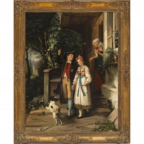 Müller, August. Abschied eines jungen Paares in Tracht von der Großmutter. Öl/Lw.  92 x 71 cm. Sign.