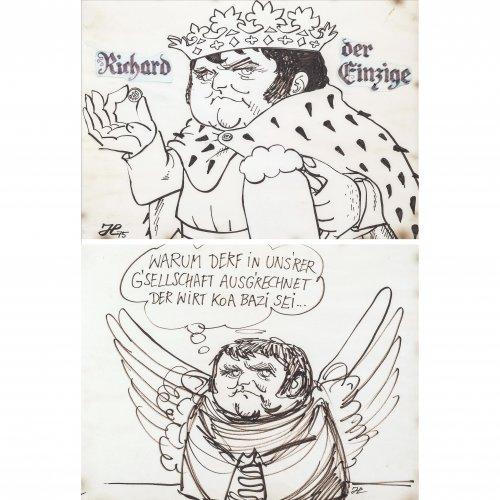 Hanitzsch, Dieter. Zwei Karikaturen auf Richard Süßmeier. Tuschzeichnungen. Je 28 x 38 cm.