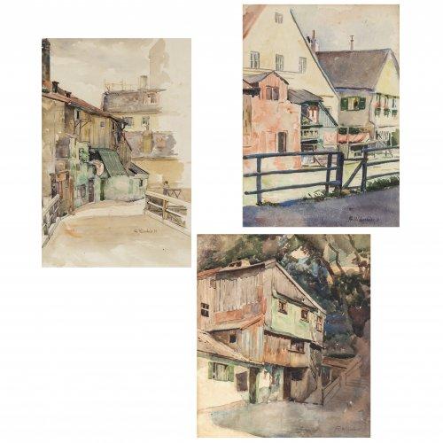 Wirnhier, Friedrich. Drei Aquarelle: Bauernhäuser. 38 x 32 cm - 41 x 29 cm. Sign., zwei dat. 31. Rückseitig Nachlassstempel.