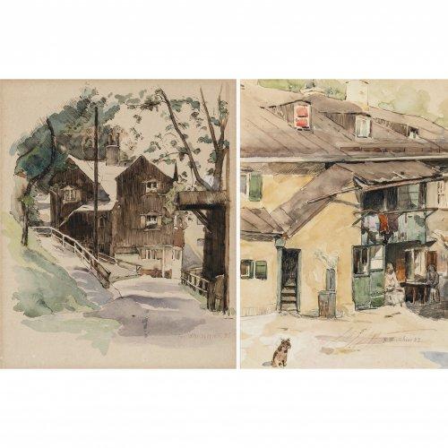 Wirnhier, Friedrich. Zwei Aquarelle: Bauernhäuser. Je ca. 27 x 20 cm. Sign., dat. 33 bzw. 35. Rückseitig Nachlassstempel.