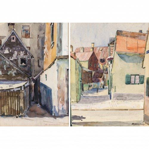Wirnhier, Friedrich. Zwei Aquarelle: Bauernhäuser. Je ca. 28 x 22 cm. Sign., dat. 30 bzw. 35. Rückseitig Nachlassstempel.
