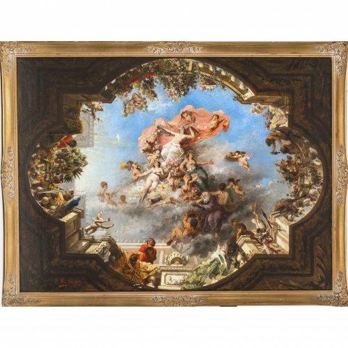 Pape, Léon de. Entwurf für ein Deckenfresko. Öl/Lw. 87 x 117 cm. Besch., rest., sign., dat. 18(?)8.