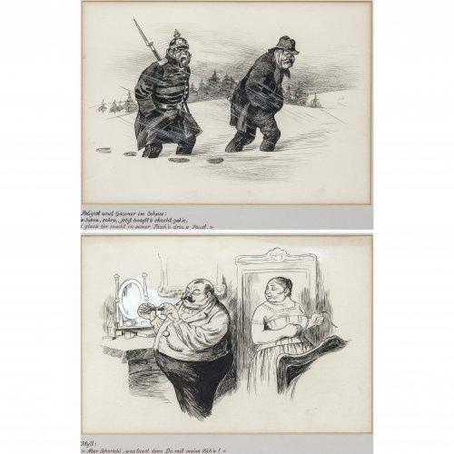 Engl, Josef Benedikt. Zwei Karikaturen: Polizist und Gauner im Schnee bzw. Ehe-Idyll. Tuschpinsel- und Kohlezeichnungen. Je ca. 30 x 43 cm. Eine monogr.