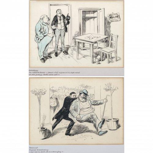 Engl, Josef Benedikt. Zwei Karikaturen: Vermietung bzw. Rauswurf. Tuschpinselzeichnungen, wenig aquarelliert. Je 32 x 45 cm. Unsign.